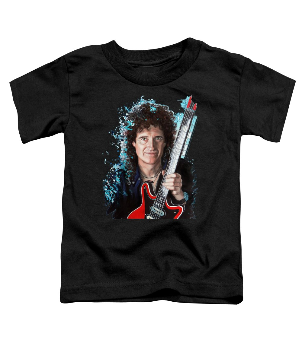 Brian May Toddler T-Shirt featuring the pastel Brian May by Melanie D