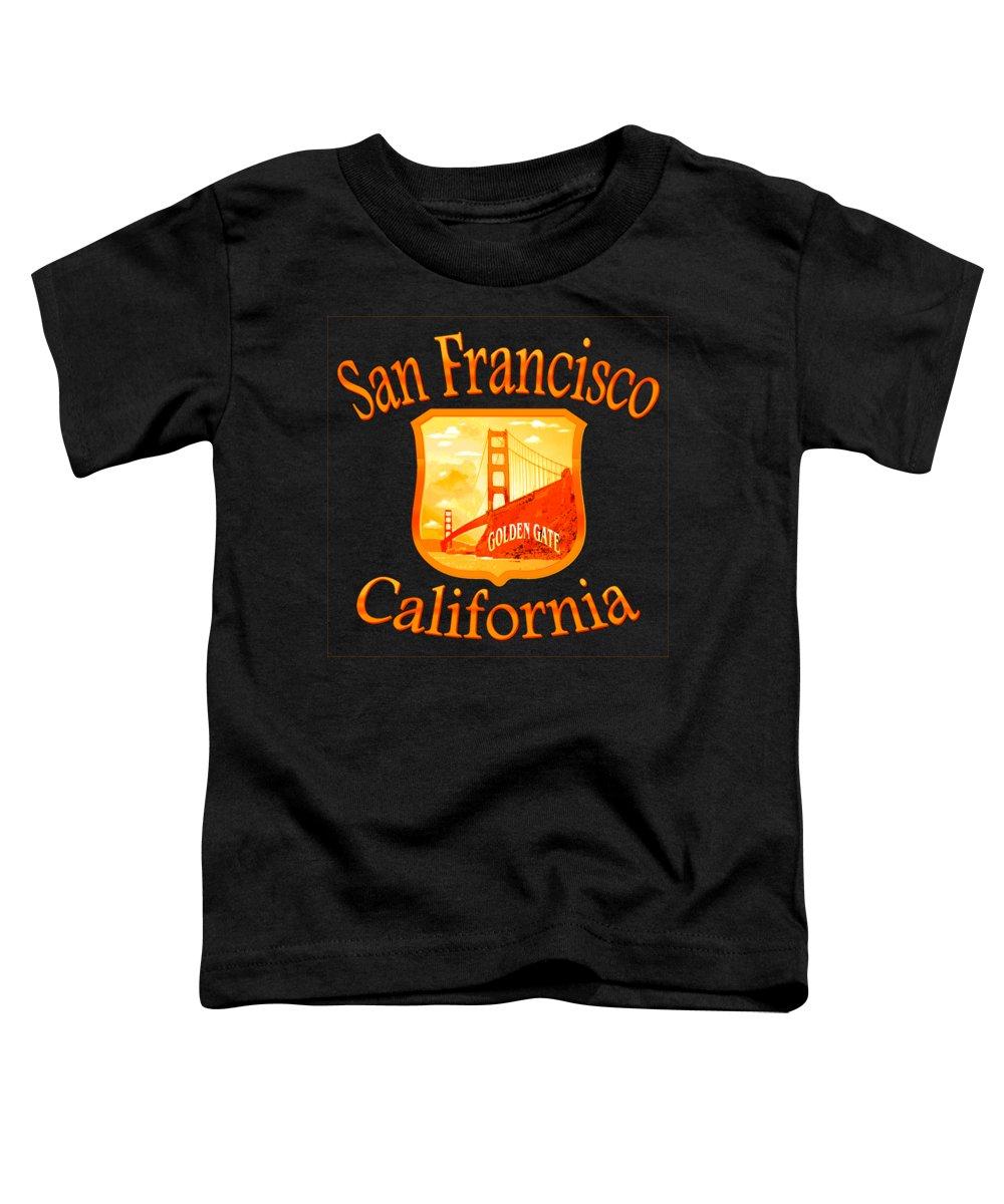 San Toddler T-Shirt featuring the mixed media San Francisco California Golden Gate Design by Peter Potter