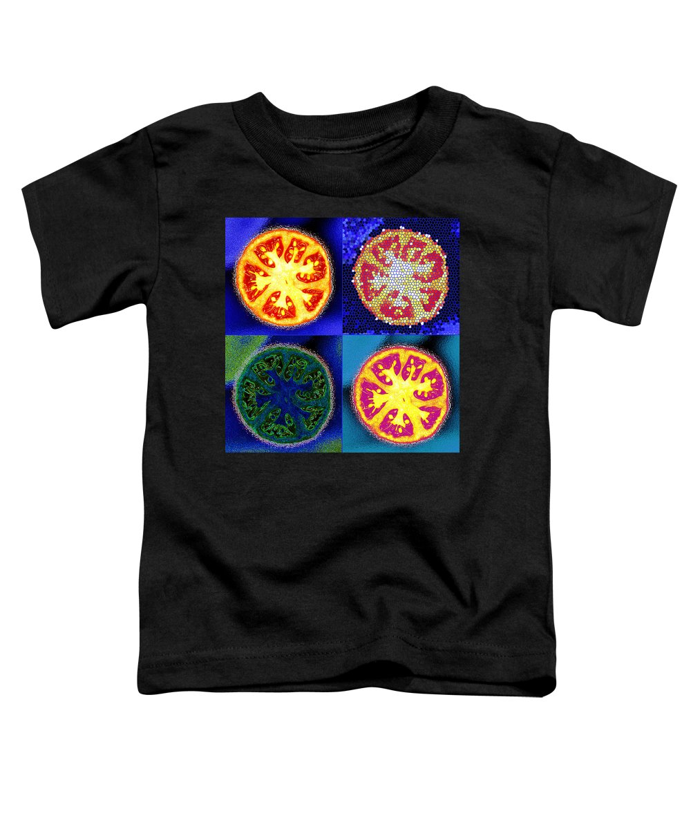 Tomatoes Toddler T-Shirt featuring the photograph 4 Abstract Tomatoes by Nancy Mueller