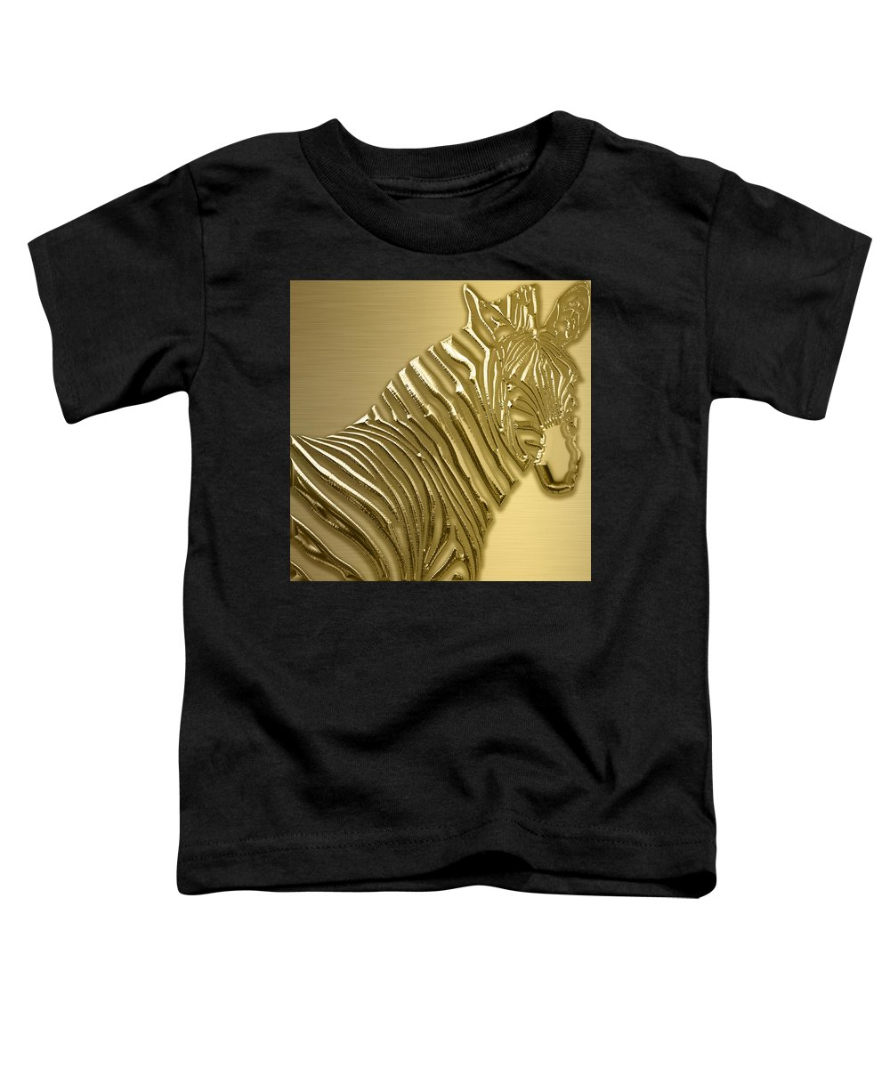 Zebra Toddler T-Shirt featuring the mixed media Zebra Collection by Marvin Blaine