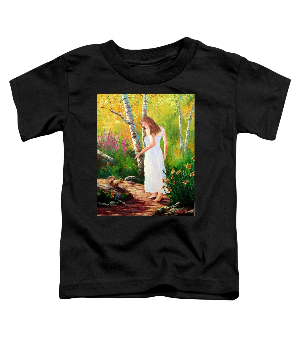 Landscape Toddler T-Shirt featuring the painting A Friendly Greeting by David G Paul