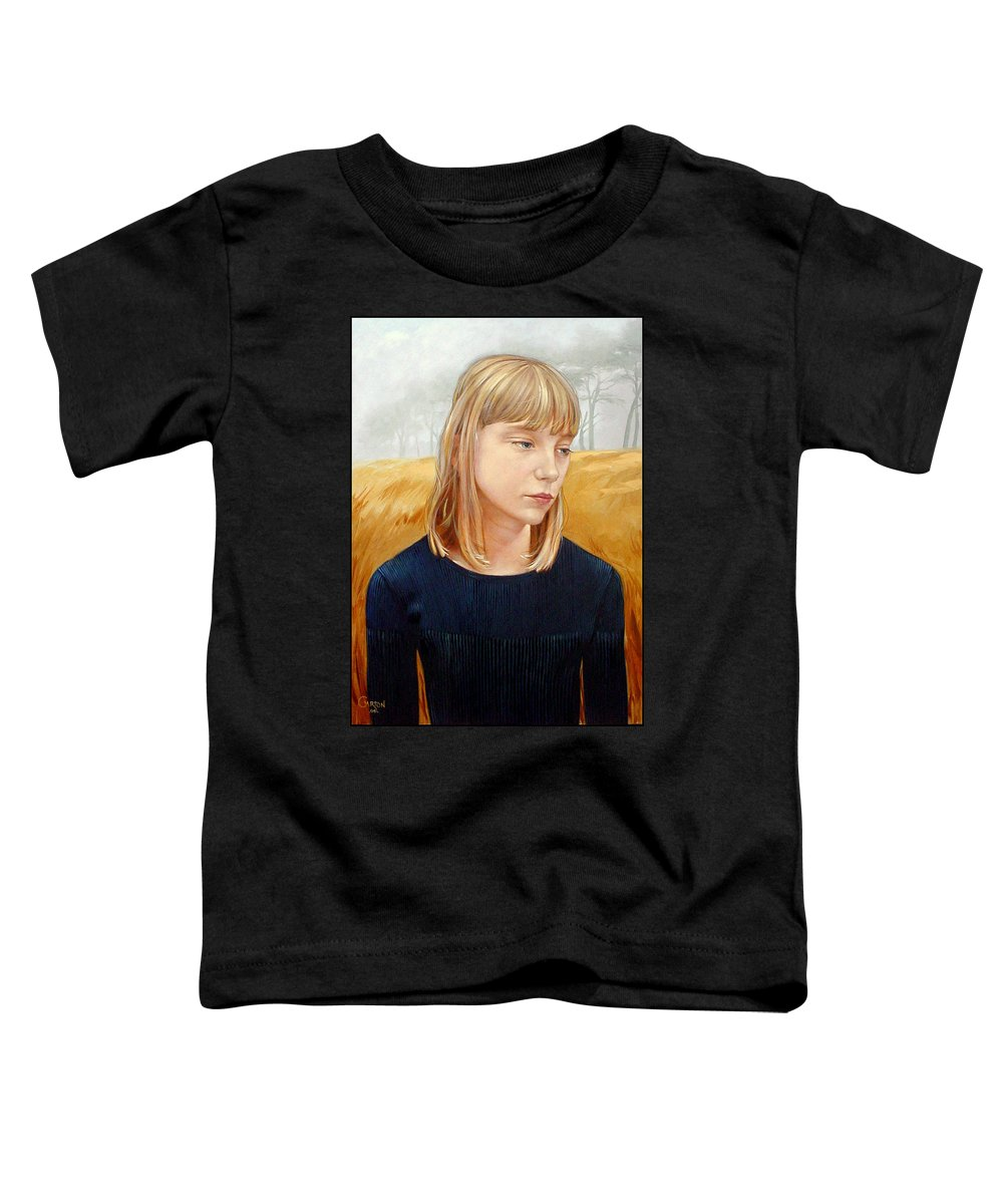 Girl Toddler T-Shirt featuring the painting A Gang Of Crows by Jerrold Carton