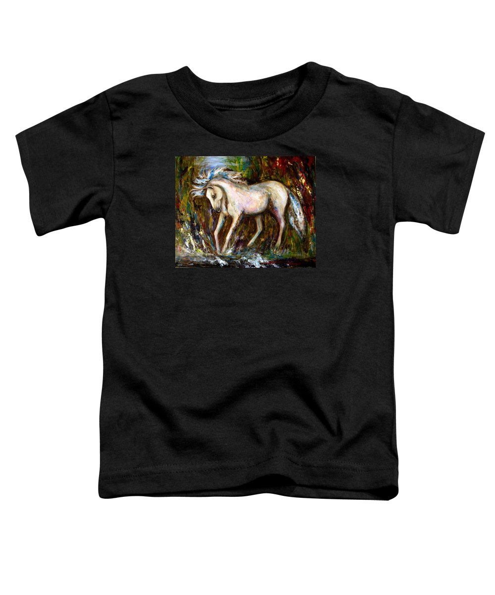 Horse Painting Toddler T-Shirt featuring the painting A Secret Place White Hores Painting by Frances Gillotti