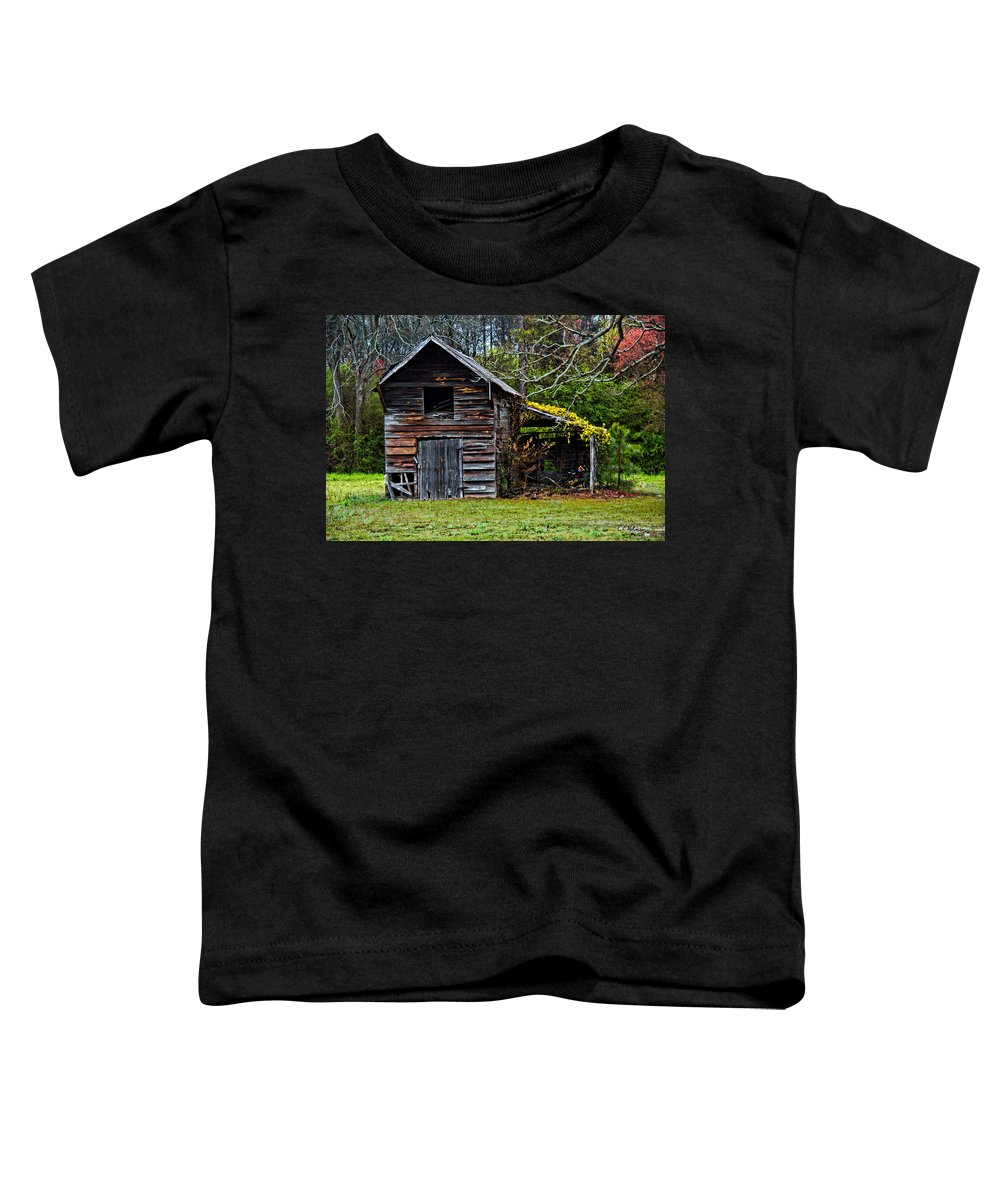 Barn Toddler T-Shirt featuring the photograph A Yellow Cover by Christopher Holmes