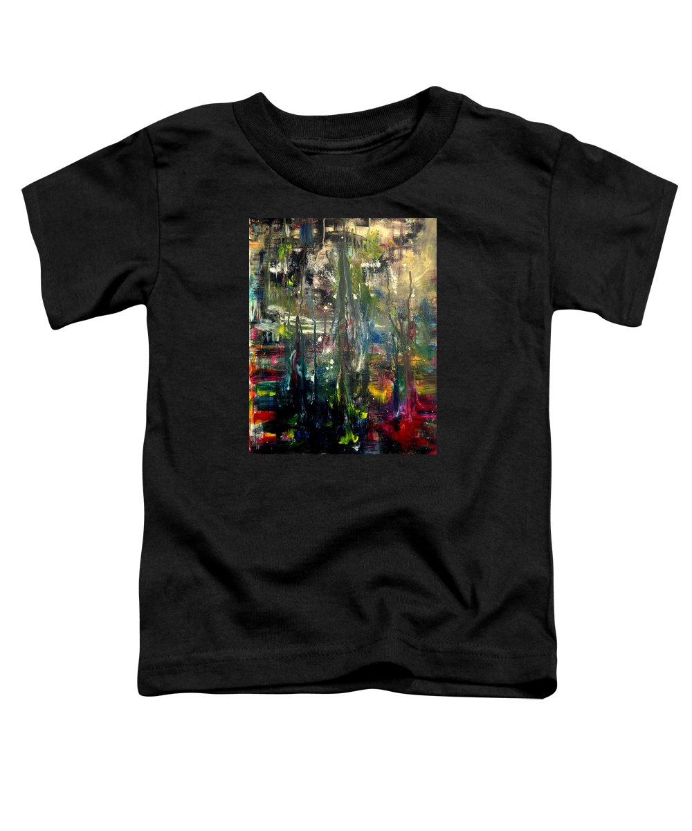 Gold Toddler T-Shirt featuring the painting Abstract - The Man Buried In Moon River by Angela Holladay