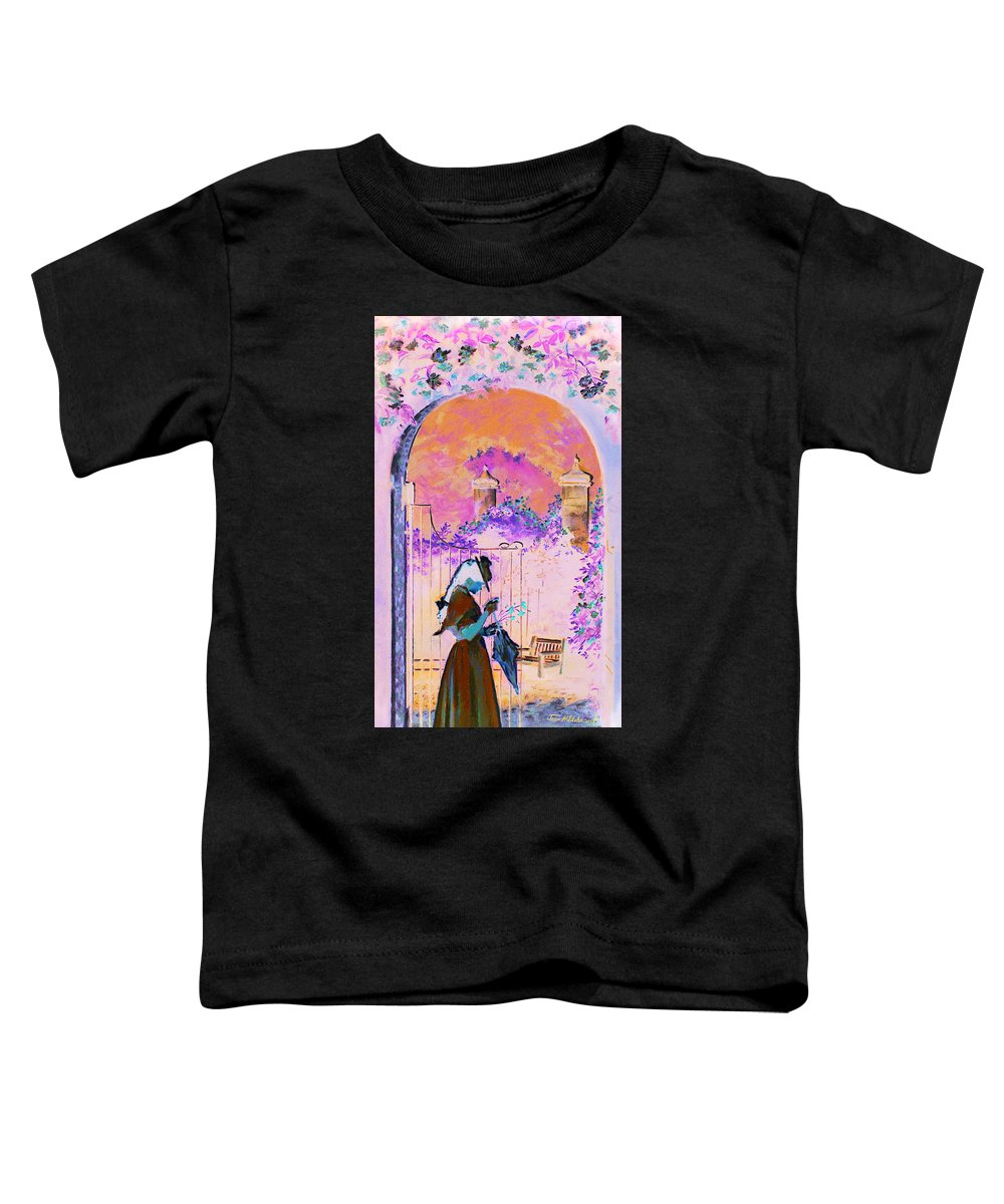 Rose Toddler T-Shirt featuring the painting Afternoon Stroll by Jean Hildebrant