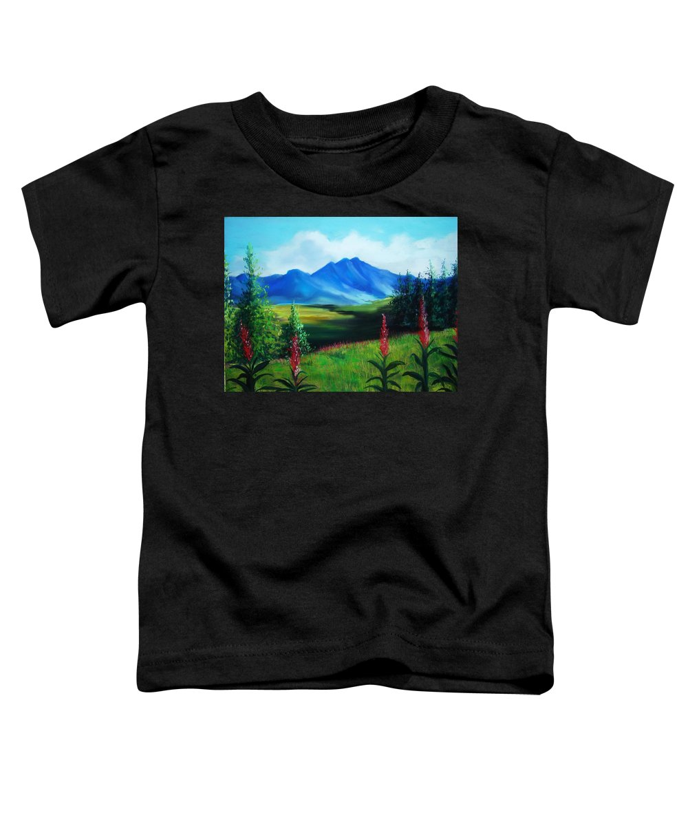 Alaska Toddler T-Shirt featuring the pastel Alaska by Melinda Etzold