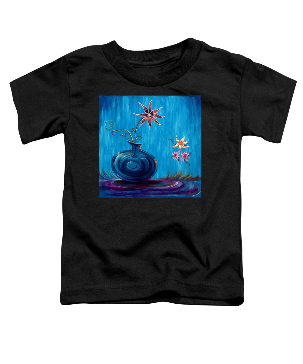 Fantasy Floral Scape Toddler T-Shirt featuring the painting Aloha Rain by Jennifer McDuffie