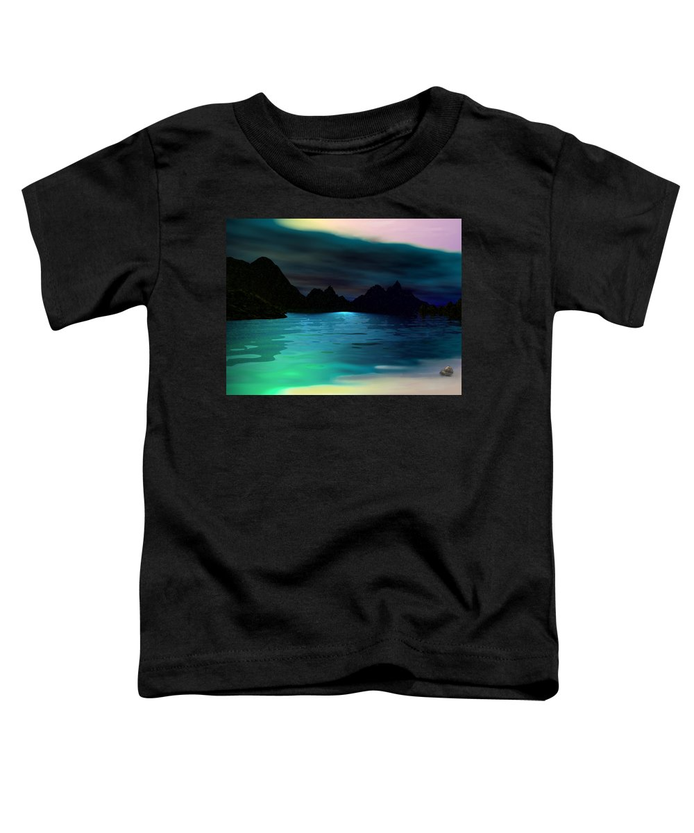Seascape Toddler T-Shirt featuring the digital art Alone On The Beach by David Lane