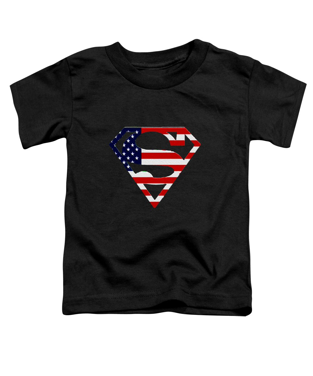American Flag Superman Shield Toddler T-Shirt featuring the photograph American Flag Superman Shield by Bill Cannon