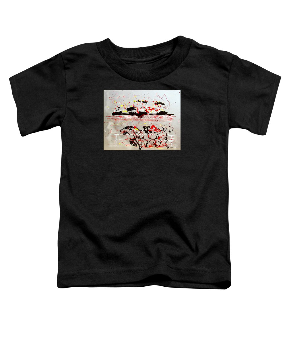 Abstract Toddler T-Shirt featuring the mixed media And Down The Stretch They Come by J R Seymour