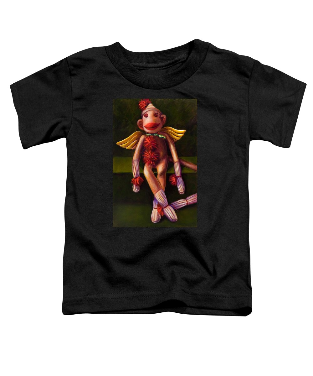 Sock Monkey Angel Toddler T-Shirt featuring the painting Angel Made Of Sockies by Shannon Grissom
