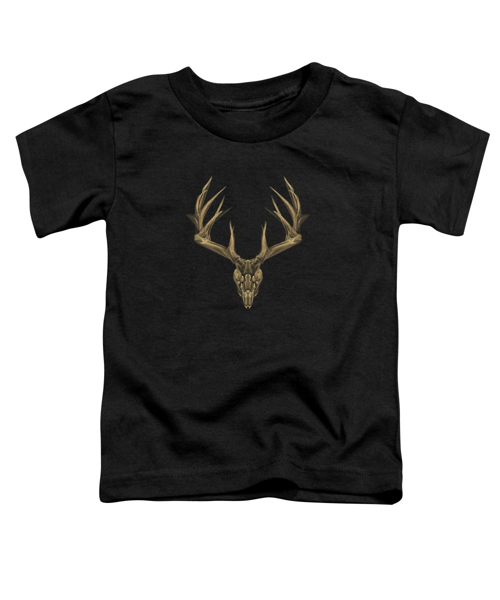 """""""antlered Skulls"""" Collection By Serge Averbukh Toddler T-Shirt featuring the digital art Antlered Skulls - Gold Deer Skull X-ray Over Black Canvas No.1 by Serge Averbukh"""