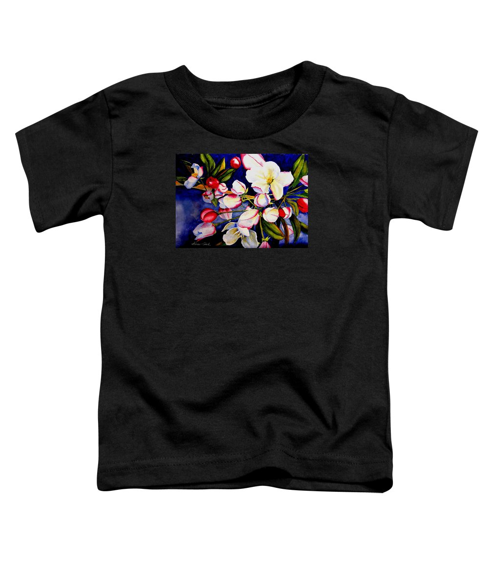 Apple Blossoms Toddler T-Shirt featuring the painting Apple Blossom Time by Karen Stark