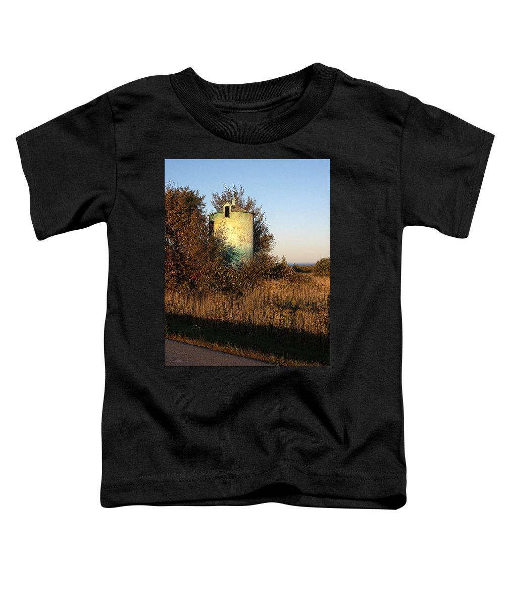 Silo Toddler T-Shirt featuring the photograph Aqua Silo by Tim Nyberg