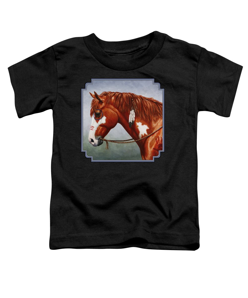 Horse Toddler T-Shirt featuring the painting Native American War Horse by Crista Forest