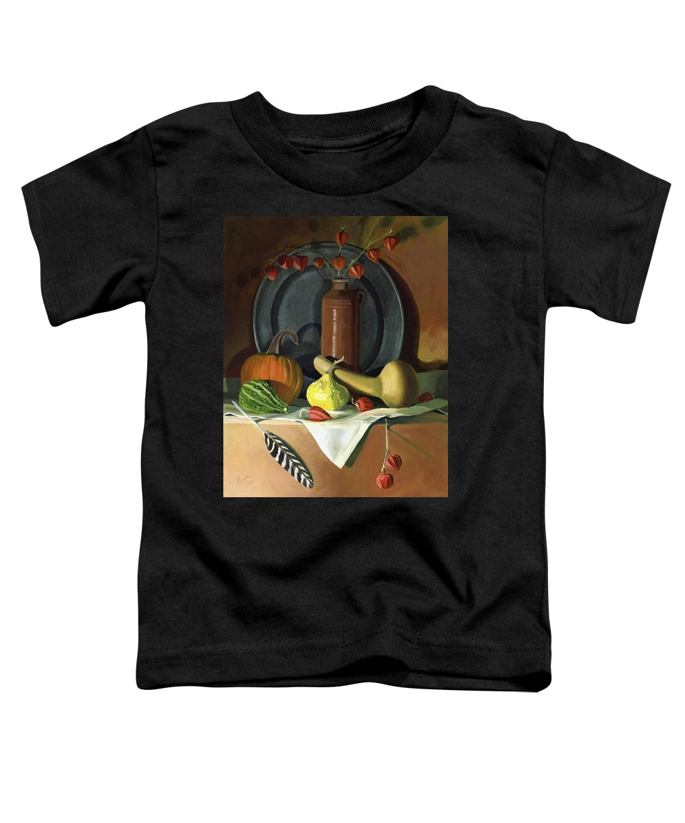 Still Life Toddler T-Shirt featuring the painting Autumn Still Life by Nancy Griswold