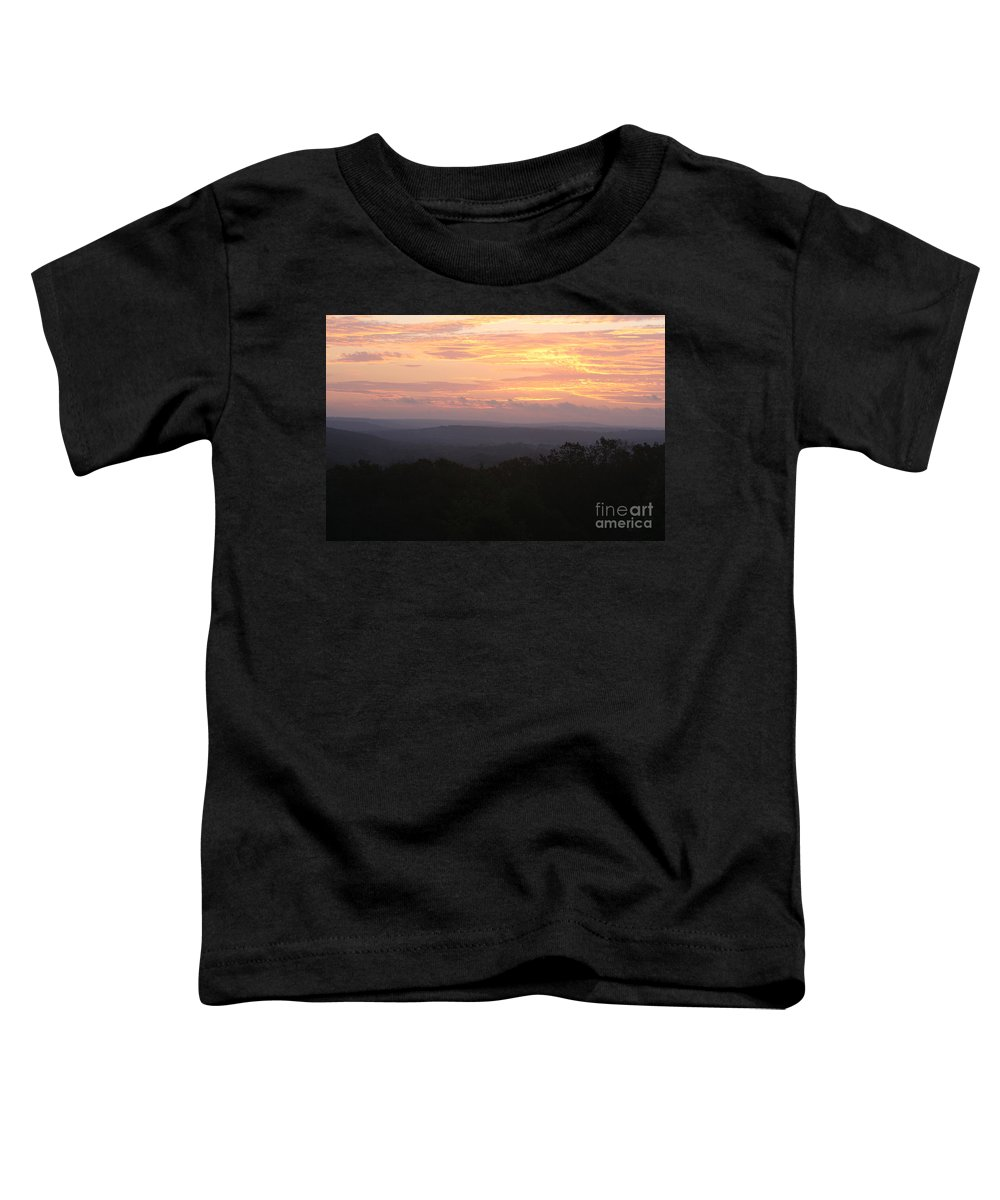 Sunrise Toddler T-Shirt featuring the photograph Autumn Sunrise Over The Ozarks by Nadine Rippelmeyer