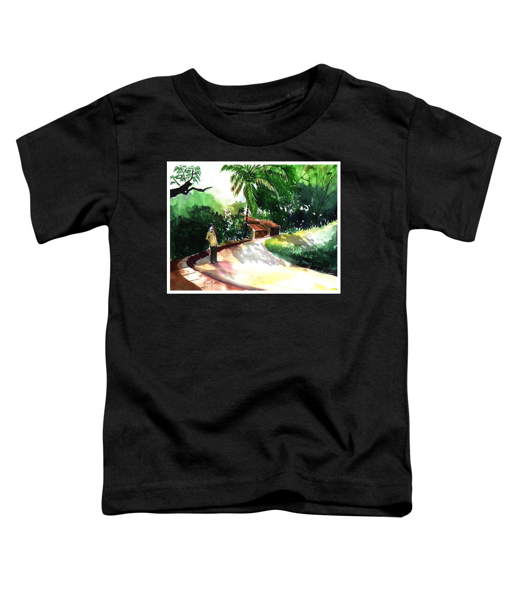 Water Color Watercolor Landscape Greenery Toddler T-Shirt featuring the painting Awe by Anil Nene
