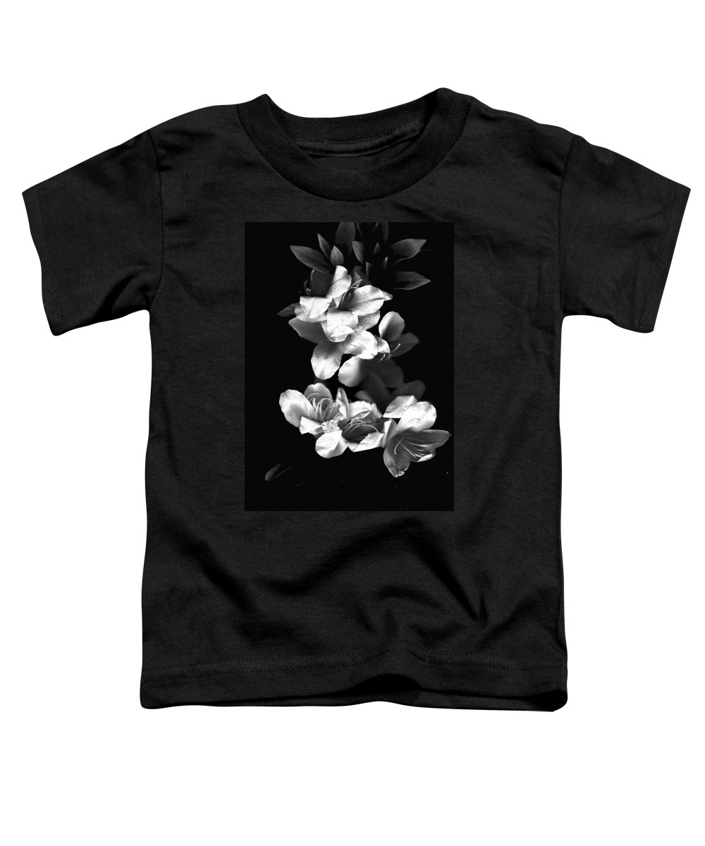 Azaela Toddler T-Shirt featuring the photograph Azaela Blossom In Black And White by Wayne Potrafka