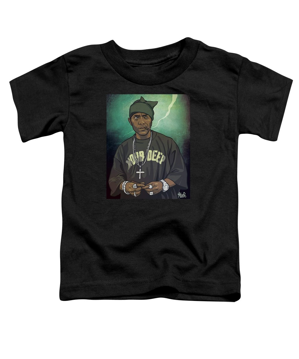 Hiphop Toddler T-Shirt featuring the drawing Bandana P by Miggs The Artist
