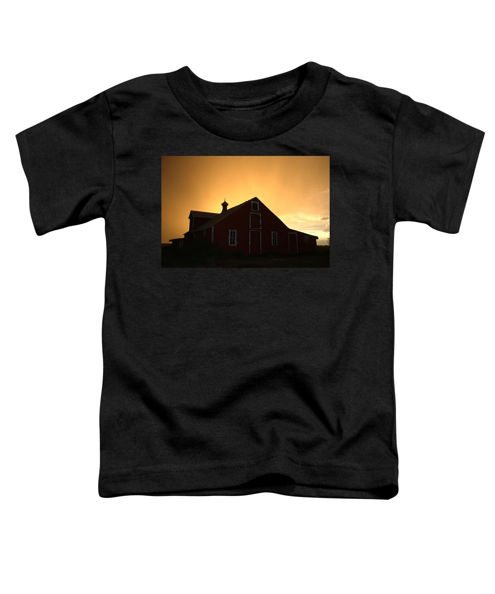 Barn Toddler T-Shirt featuring the photograph Barn At Sunset by Jerry McElroy