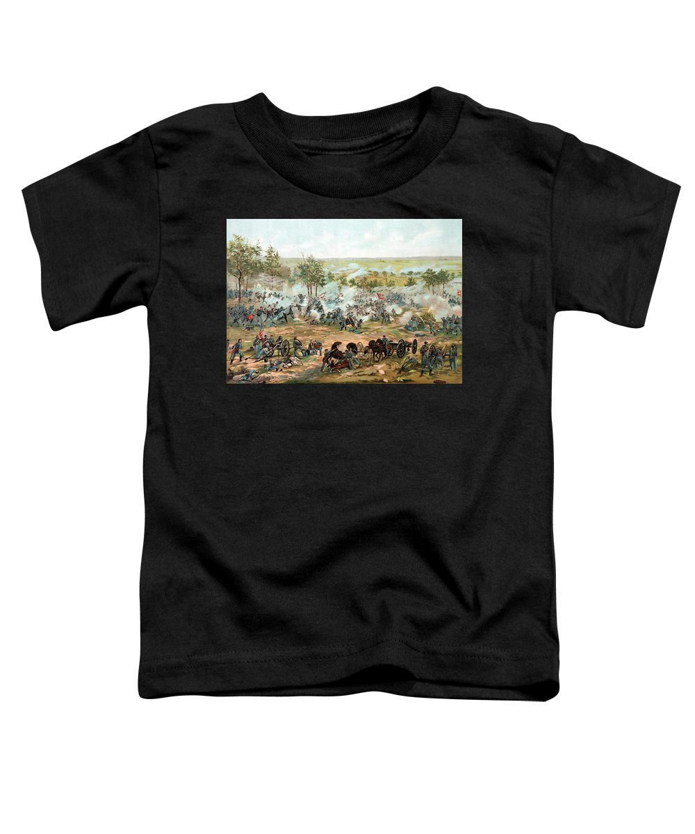 Gettysburg Toddler T-Shirt featuring the painting Battle Of Gettysburg by War Is Hell Store