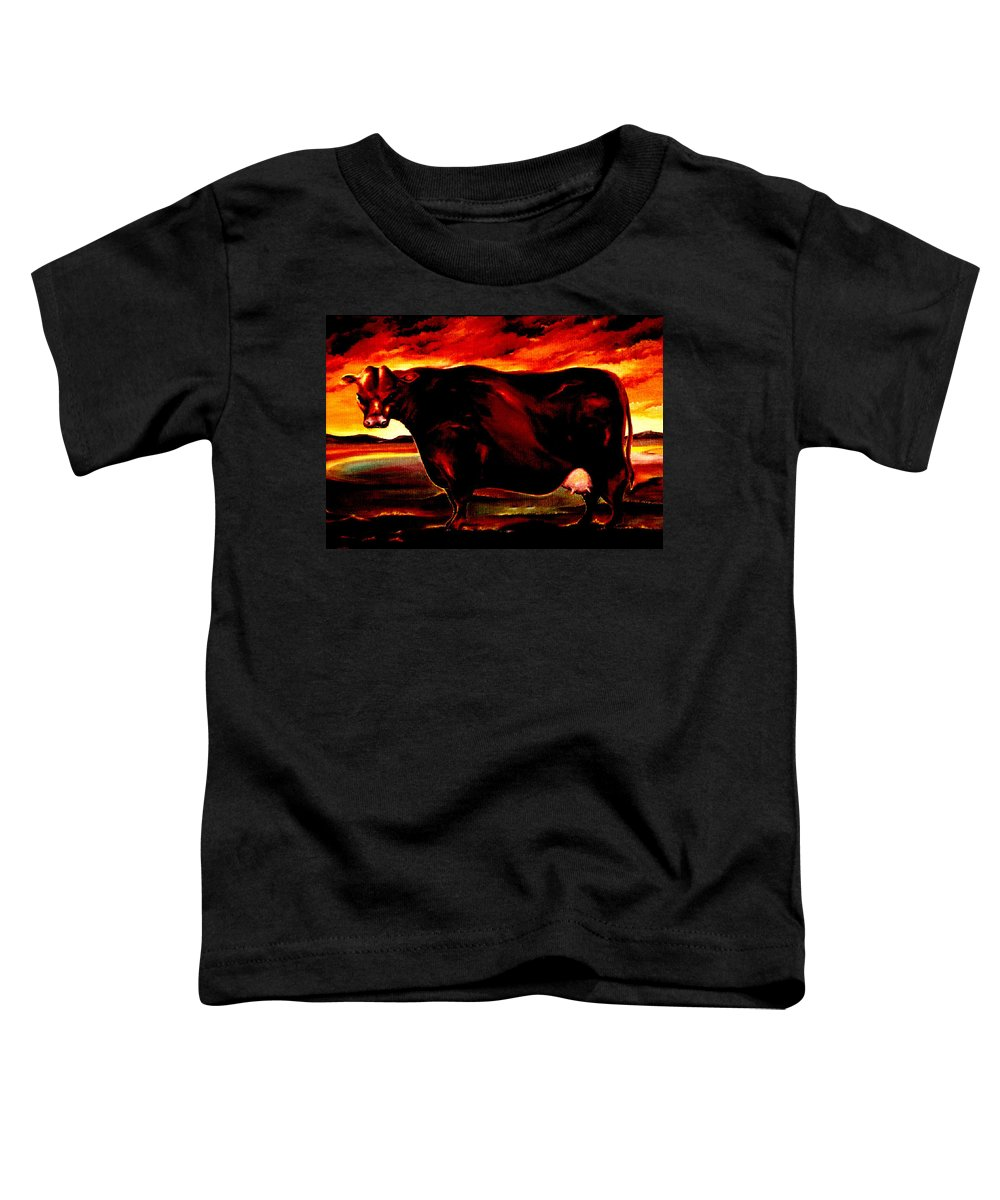 Farm Animal Toddler T-Shirt featuring the painting Beef Holocaust IIi by Mark Cawood