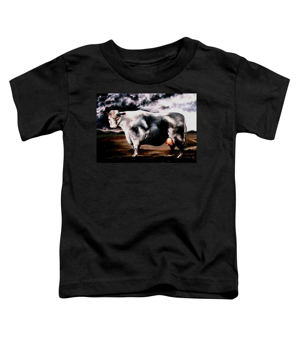 Cow Toddler T-Shirt featuring the painting Beef Holocaust Iv by Mark Cawood