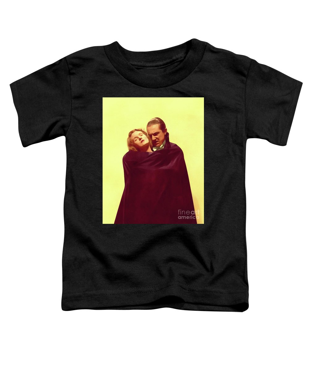 Bela Toddler T-Shirt featuring the painting Bela Lugosi And Helen Chandler, Dracula by John Springfield