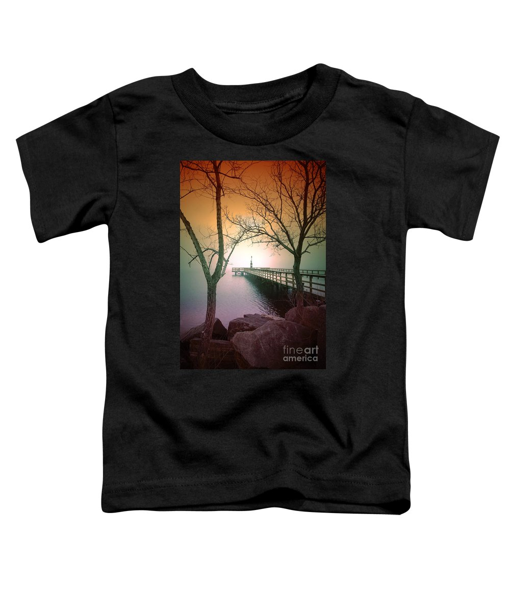 Pier Toddler T-Shirt featuring the photograph Between Two Trees by Tara Turner