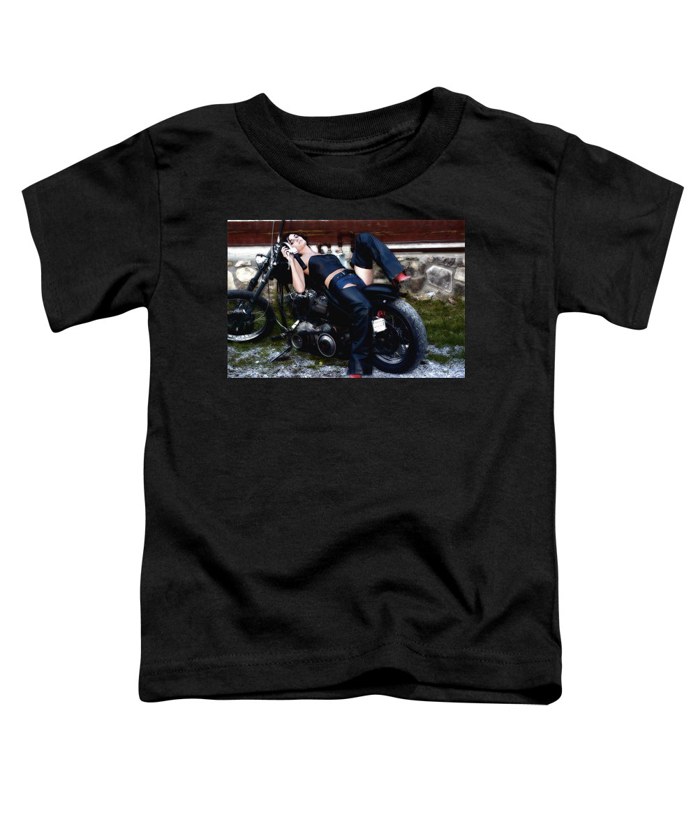 Clay Toddler T-Shirt featuring the photograph Bikes And Babes by Clayton Bruster