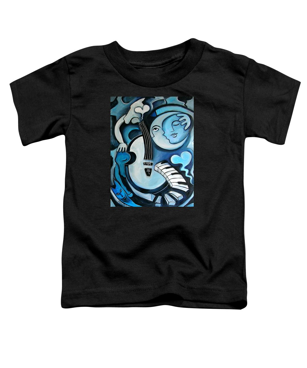 Abstract Toddler T-Shirt featuring the painting Black And Bleu by Valerie Vescovi