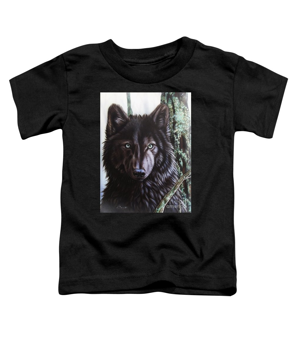 Wolves Toddler T-Shirt featuring the painting Black Wolf by Sandi Baker