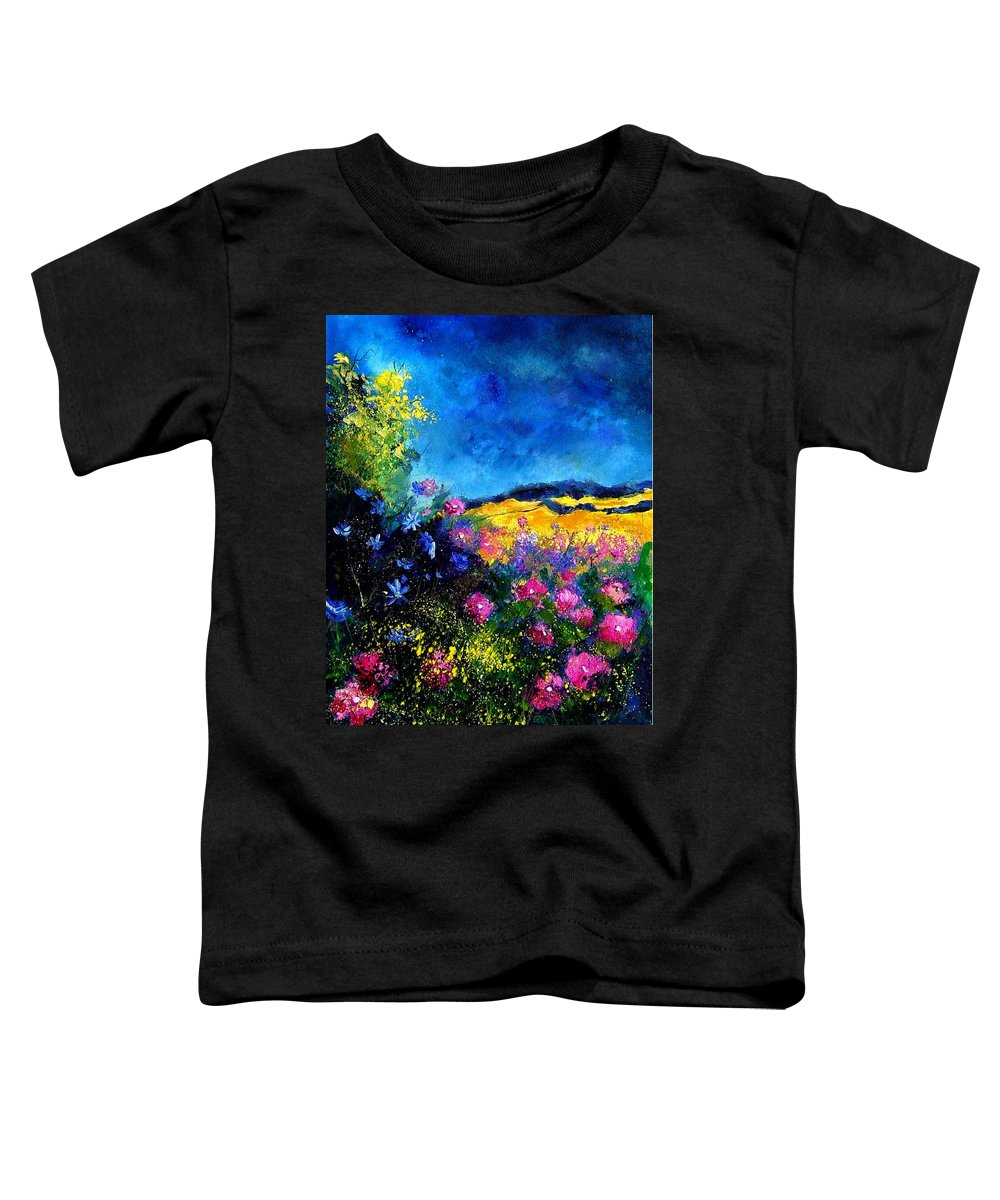 Landscape Toddler T-Shirt featuring the painting Blue And Pink Flowers by Pol Ledent