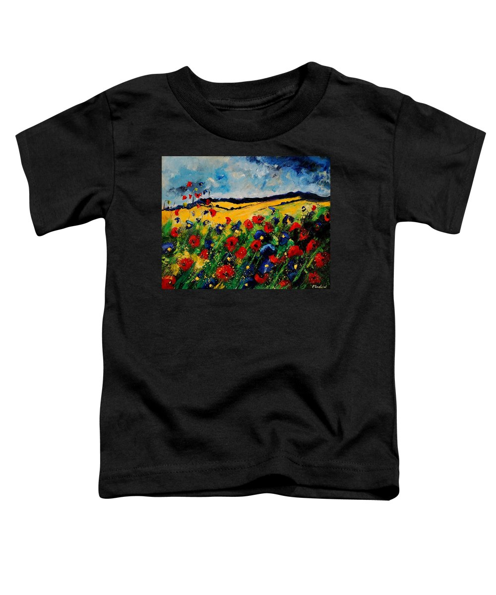 Poppies Toddler T-Shirt featuring the painting Blue And Red Poppies 45 by Pol Ledent