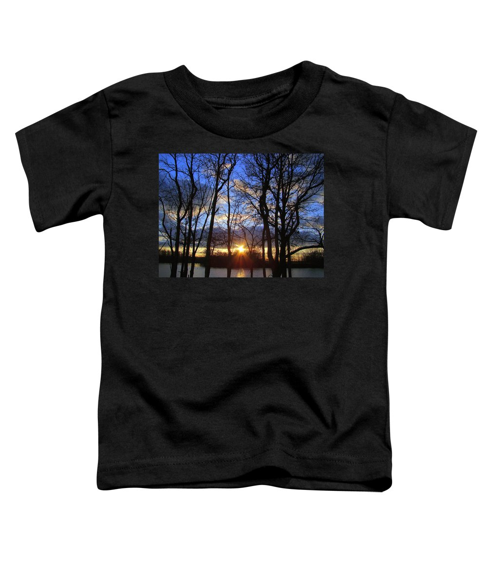 Sunset Toddler T-Shirt featuring the photograph Blue Skies And Golden Sun by J R Seymour