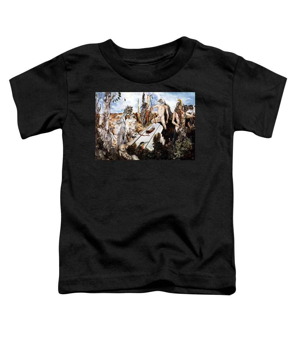 Surrealism Toddler T-Shirt featuring the painting Bogomils Court by Otto Rapp