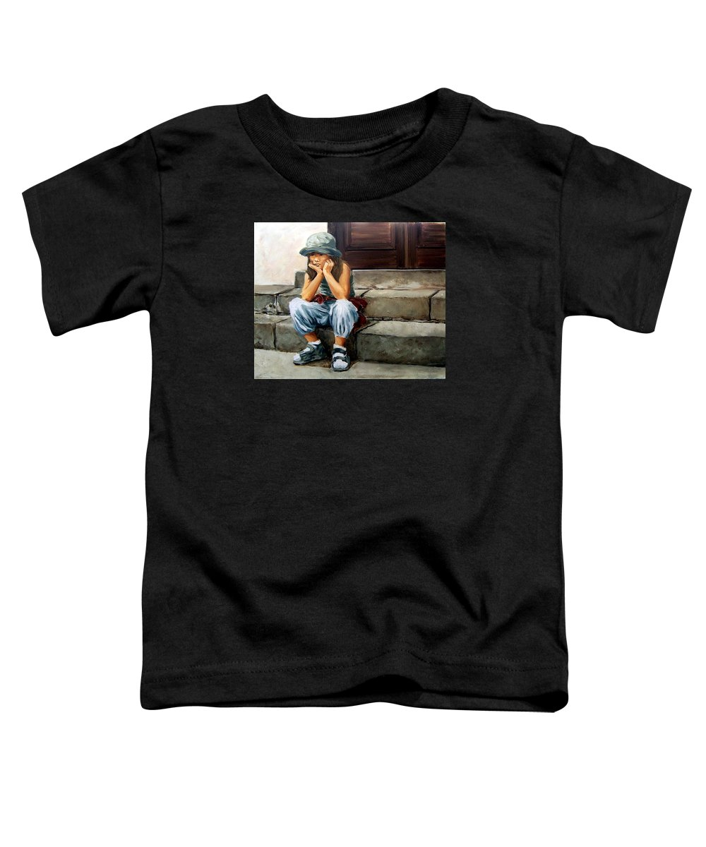 Figurative Little Girl Portrait Realism Child Kid Toddler T-Shirt featuring the painting Bored by Natalia Tejera