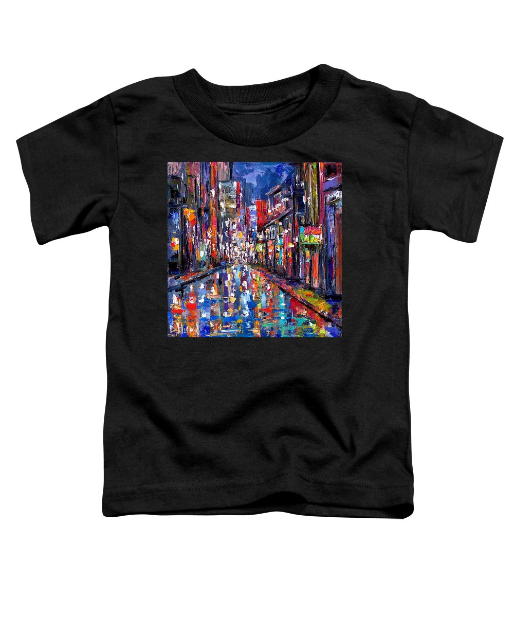 New Orleans Toddler T-Shirt featuring the painting Bourbon Street by Debra Hurd