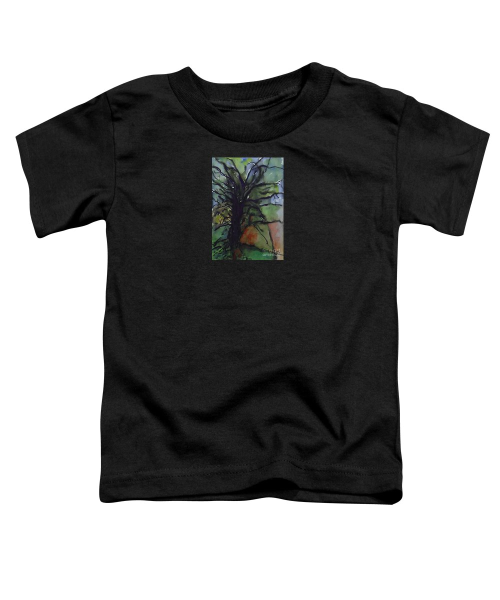 Tree Landscape Abstract Watercolor Original Blue Green Toddler T-Shirt featuring the painting Branching by Leila Atkinson