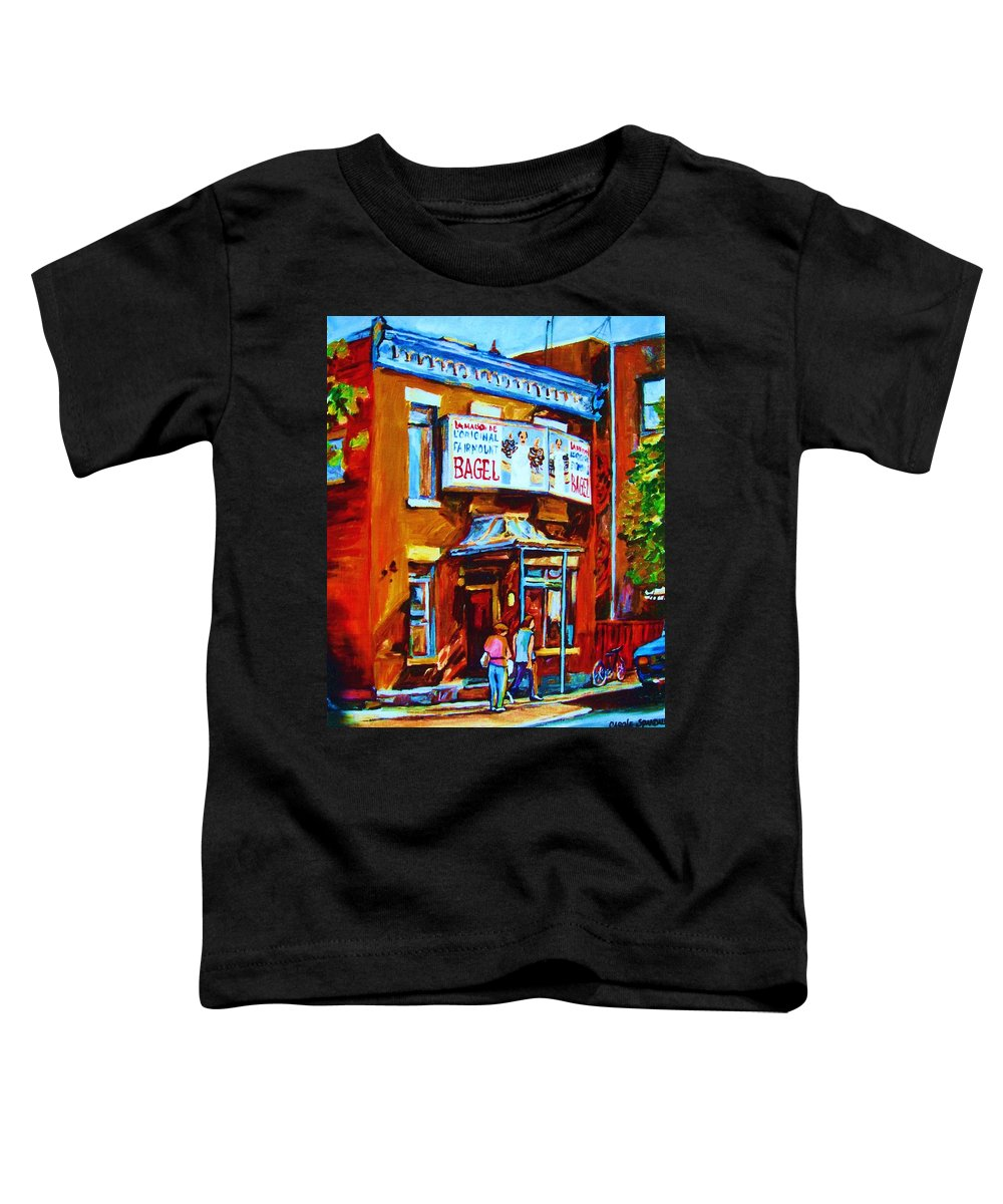 Fairmount Bagel Toddler T-Shirt featuring the painting Breakfast At The Bagel Cafe by Carole Spandau