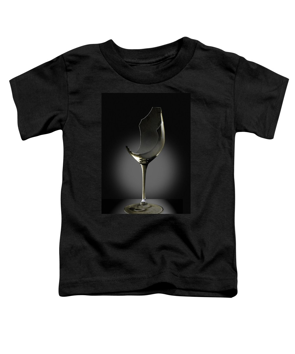 Glassware Toddler T-Shirt featuring the photograph Broken Wine Glass by Yuri Lev