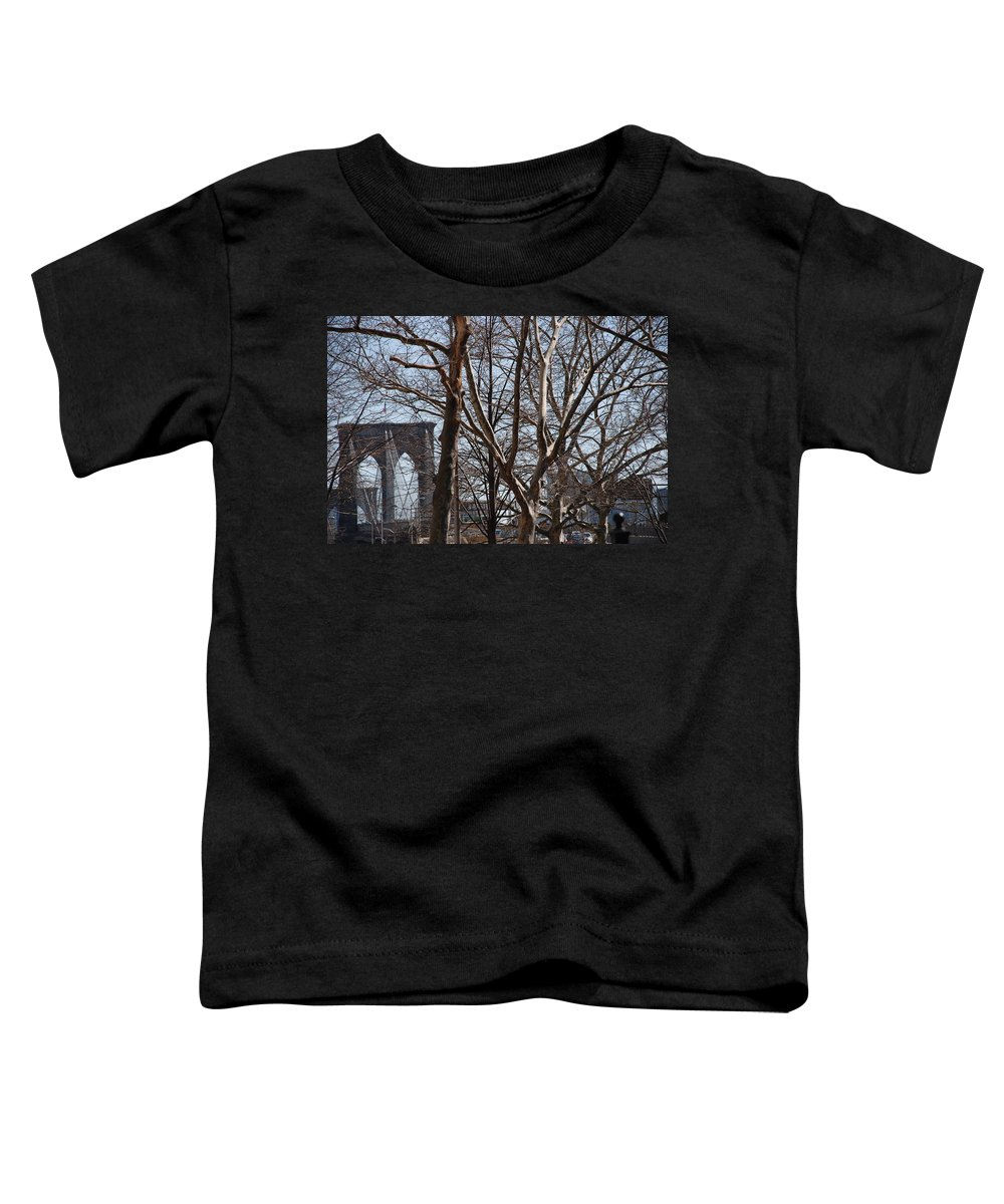 Architecture Toddler T-Shirt featuring the photograph Brooklyn Bridge Thru The Trees by Rob Hans