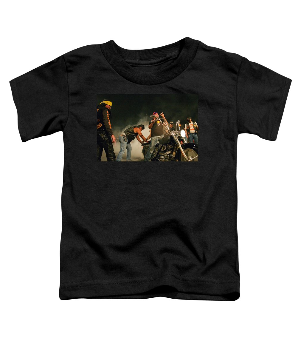 Biker Toddler T-Shirt featuring the photograph Burn Out by Skip Hunt
