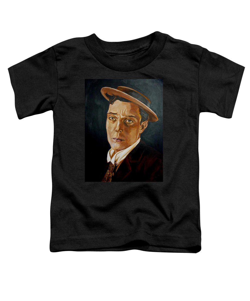 Comedy Toddler T-Shirt featuring the painting Buster Keaton Tribute by Bryan Bustard