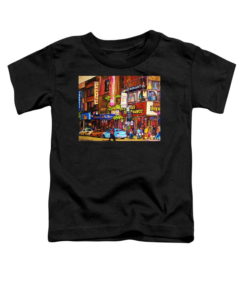 Cityscape Toddler T-Shirt featuring the painting Busy Downtown Street by Carole Spandau