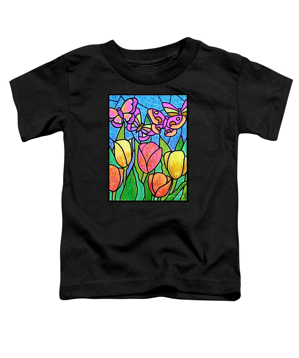 Butterflies Toddler T-Shirt featuring the painting Butterflies In The Tulip Garden by Jim Harris
