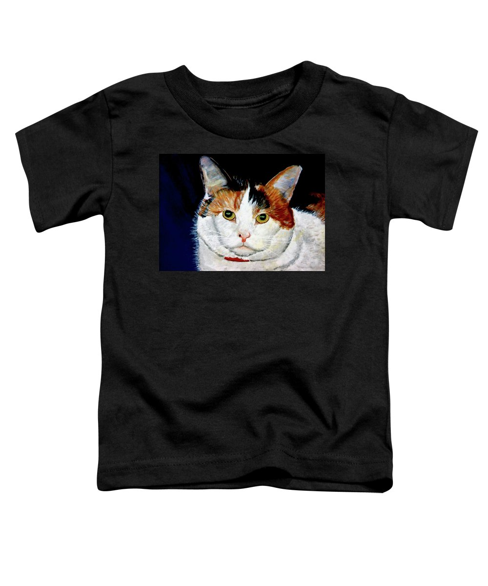 Cat Toddler T-Shirt featuring the painting Buttons by Stan Hamilton