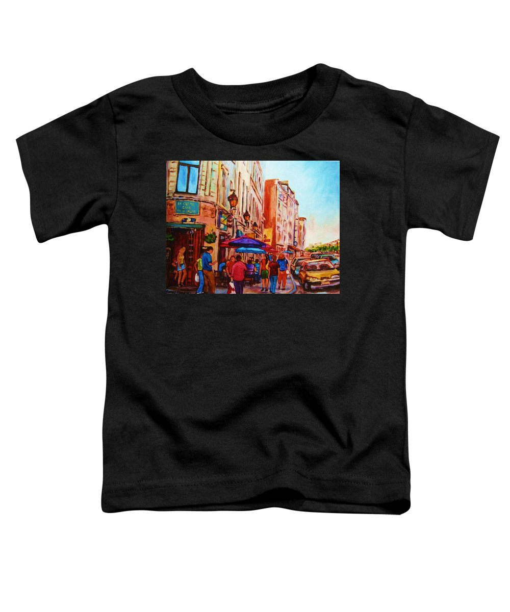Montreal Toddler T-Shirt featuring the painting Cafe Creme by Carole Spandau